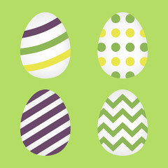 Flat icon easter eggs isolated on green background. Vector illustration.