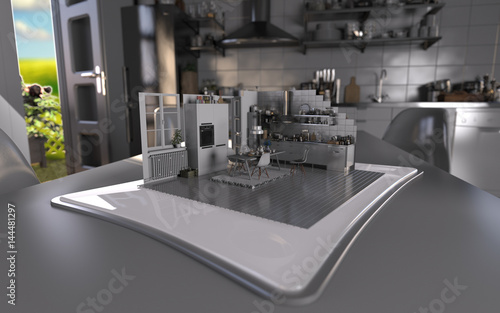 Augmented Reality Tablet Kitchen Interior Design Stock Photo And Royalty Free Images On