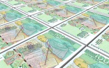 Bulgarian lev bills stacks background. 3D illustration.