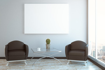 Abstract interior with blank banner