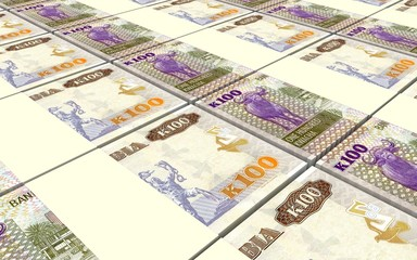 Zambian kwacha bills stacks background. 3D illustration.