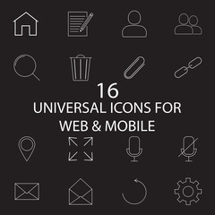 Universal line and full icons set, outline and solid vector symb