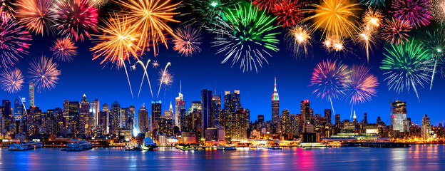 New York City Panorama mit Feuerwerk