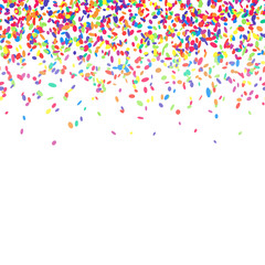 Abstract background with colorful confetti. Vector illustration of many falling sprinkles. Seamless border pattern. Isolated on white.