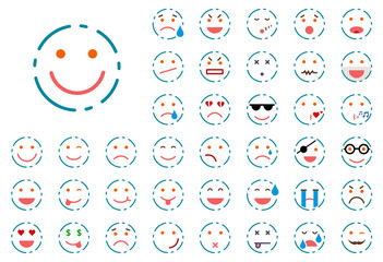 Set of lined smiley