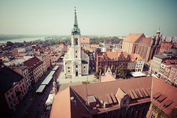 Torun,Poland-September 11,2016:Torun panorama seen from tower of the Old Town Hall