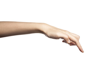 gesture with hand finger, index finger push or touch something.