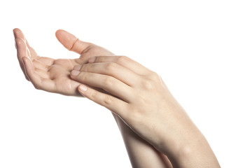 gesture with hand finger with skin lotion..