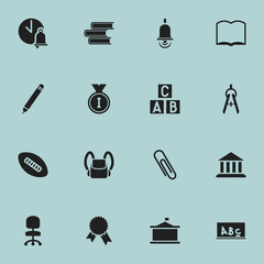Set Of 16 Editable Education Icons. Includes Symbols Such As Pencil, First Place, Library And More. Can Be Used For Web, Mobile, UI And Infographic Design.