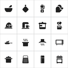Set Of 16 Editable Meal Icons. Includes Symbols Such As Shredder, Kitchen Glove, Soup And More. Can Be Used For Web, Mobile, UI And Infographic Design.