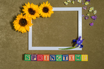 Sunflowers around a photo frame