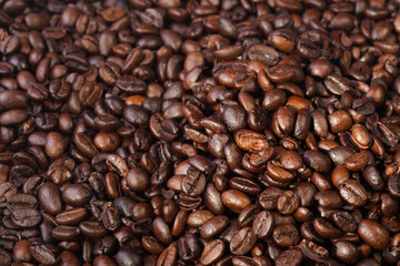 roasted coffee beans, can be used as a  texture - the beautiful food background