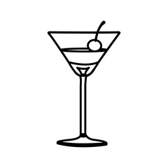 silhouette martini drink cocktail glass with cherry vector illustration