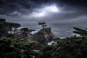 Landscape with the Lone Cypress tree on a cliff by the Pacific Ocean showing resilience and strength by withstanding storms.  The image depicts endurance in nature