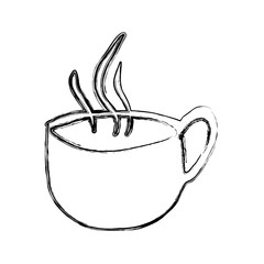monochrome sketch hand drawn of hot coffee cup side view vector illustration