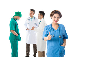 Asian male and female doctor and nurse on white background