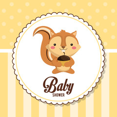 baby shower card invitation cute chipmunk vector illustration eps 10