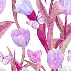fashion seamless texture with lovely tulips and butterflies for your design. watercolor painting