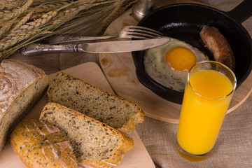 Morning country - healthy breakfast with orange juice