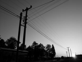 Strommasten und Stromleitungen im Dorf Maksudiye im Licht der untergehenden Sonne bei Adapazari in der Türkei, fotografiert in traditionellem Schwarzweiss