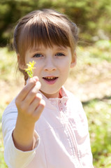little girl having fun in the park
