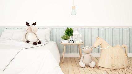 reindeer and bear doll in kid room or bedroom-3D Rendering