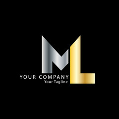 Initial Letter ML Design Logo