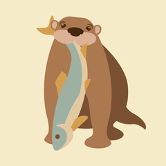 otter fish vector illustration style Flat