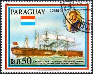 UKRAINE - CIRCA 2017: A postage stamp printed in Paraguai shows sailing ship SS Great Eastern and Prince Charles, from the series Wedding of Prince Charles and Lady Diana Spencer, circa 1981