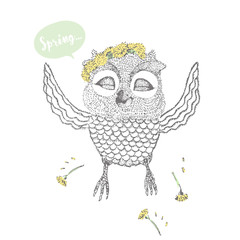 happy owl in a wreath of flowers. freehand drawing.