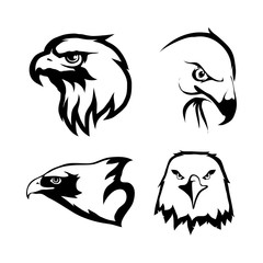 Vector set of black Eagles head and eagle logo Isolated on white background