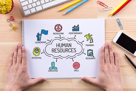 Human Resources chart with keywords and sketch icons