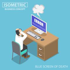 Isometric businessman having problems when his computer show blue screen error