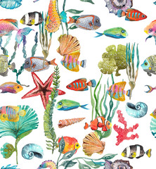 Watercolor Sea Life, Seaweed, Shell, fish, sea horse, beautiful seamless pattern