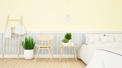 bedroom and living pastel design - 3d Rendering