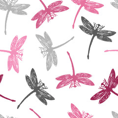 Gray and pink Dragonflies Seamless pattern
