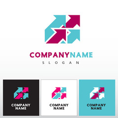 Abstract sign - arrow. Graphic symbol of logo design element, computer icon in red, turquoise colors on white background. Vector illustration.