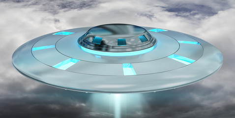 In de dag UFO Vintage UFO flying on cloudy sky 3D rendering