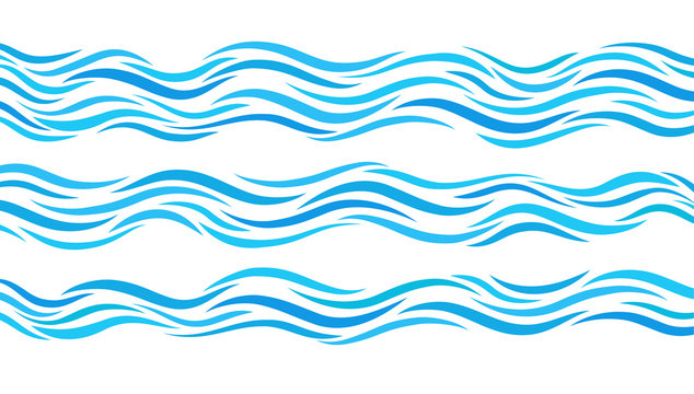 Blue wave patterns. Set of elements water.