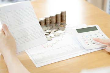 Stack of coins with Passbank