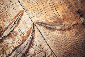 Detail of an old scratched wooden board