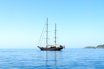Yacht in sea near Budva coast, Montenegro