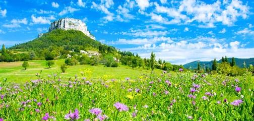Stores à enrouleur Vert chaux Paysage de l'Ardèche en Provence, France