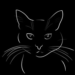 Silhouette of cat on black background. Vector illustration.