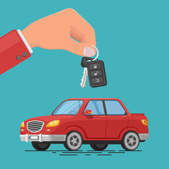 Vector illustration of a car rental or sale. Hand holding car keys. Test drive. Automobile rental business.