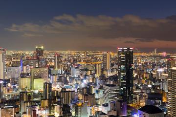 Night central business downtown skyline, Osaka Japan