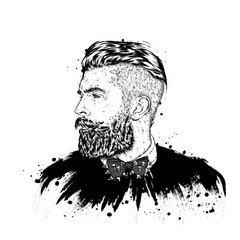 Stylish man with a beard. Man with long hair. Vector illustration for a card or poster. Print on clothes. Barbershop. Hipster.