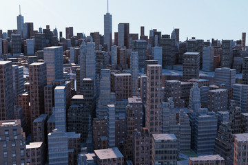 3D rendering of cityscapes with many tall buildings
