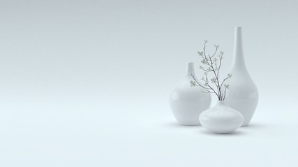 Three decorative vases on white background