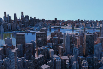 Autocollant pour porte New York 3D rendering of cityscapes with many tall buildings